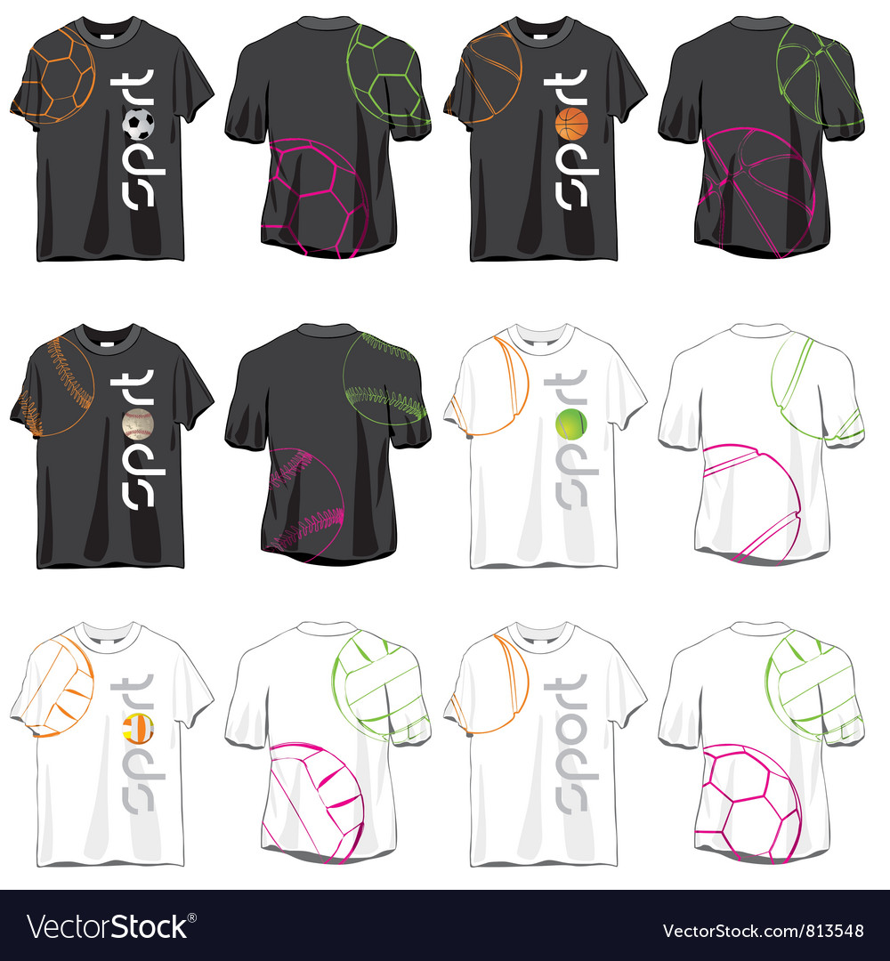 Sport t-shirts designs set vector
