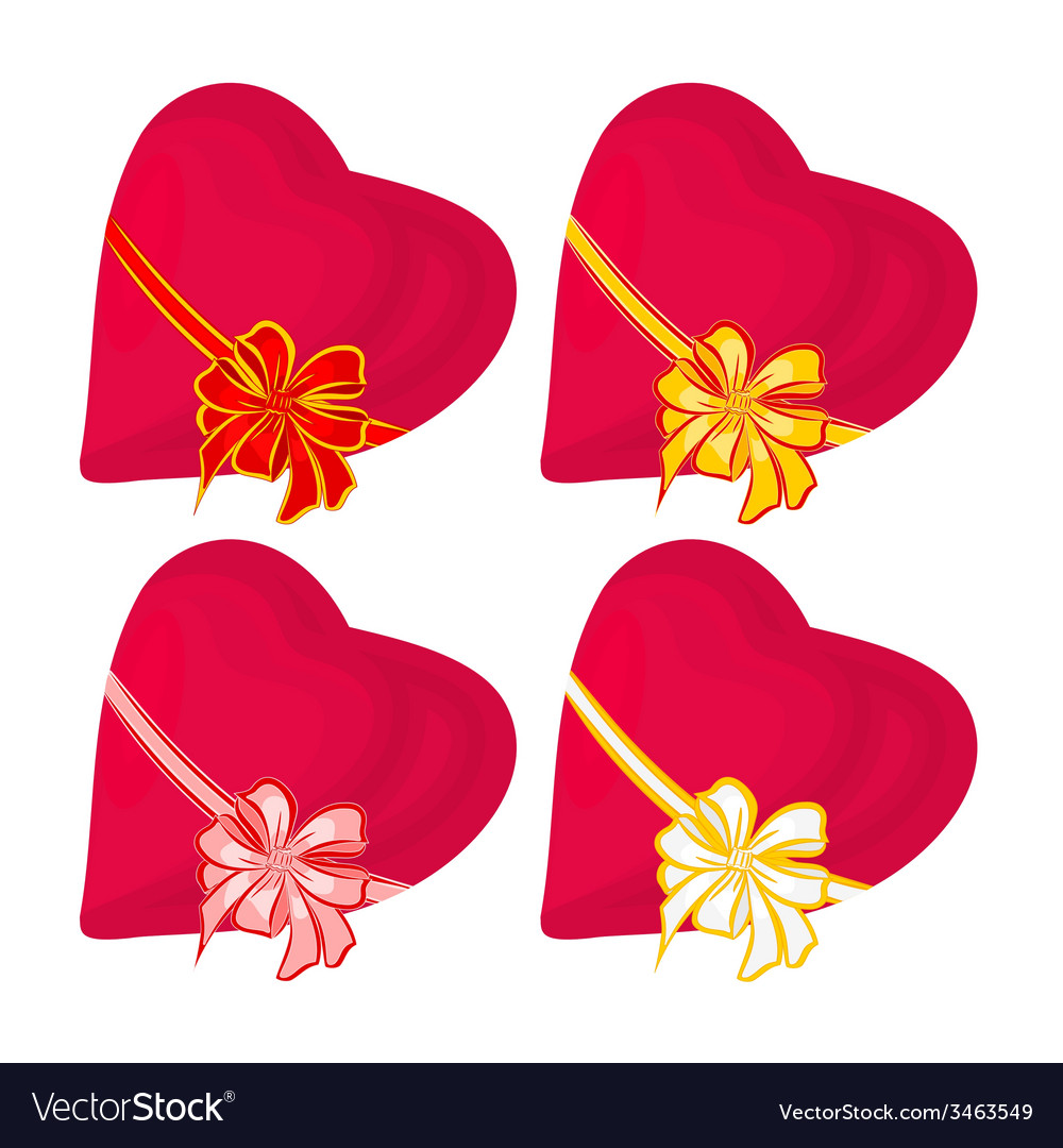 Hearts with ribbon valentines day vector