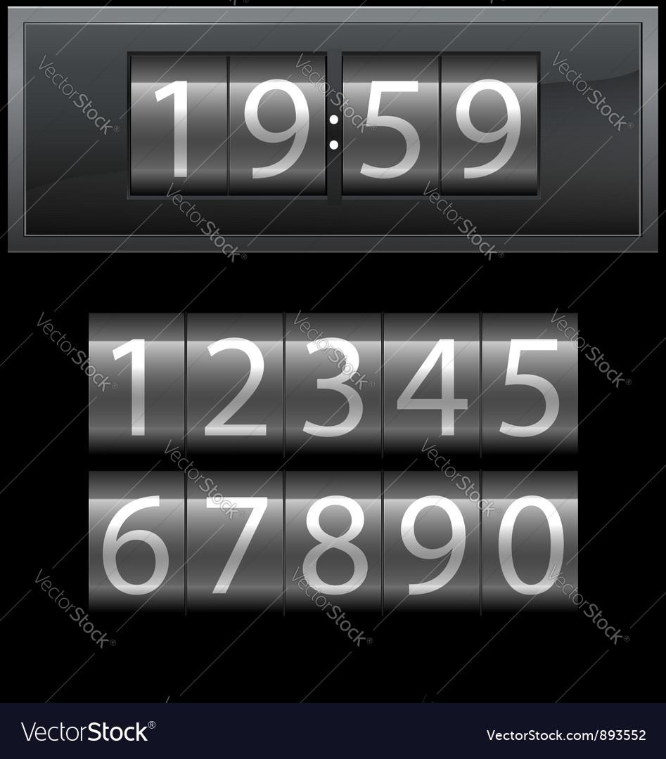Number set from 1 to 9 digital clock dark vector