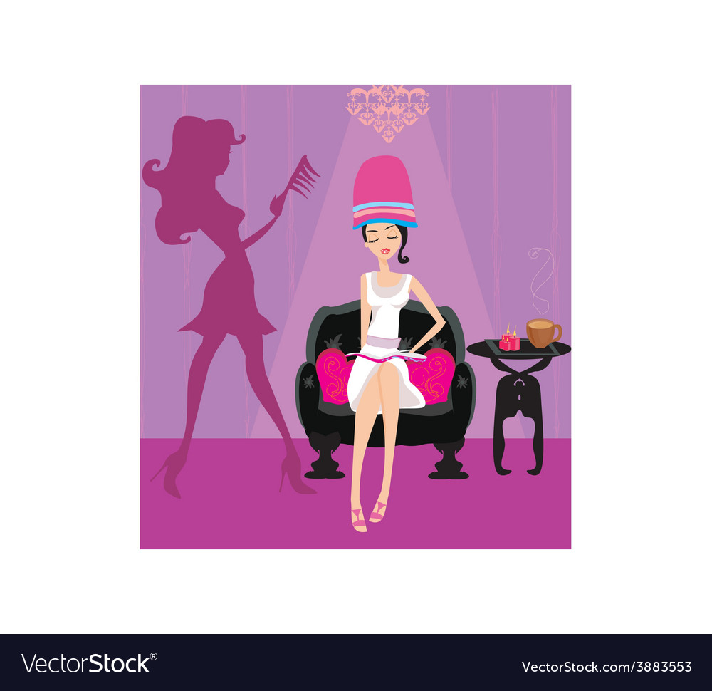Elegant girl in a beauty salon reading the vector