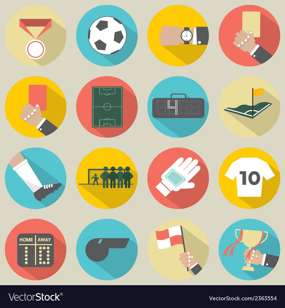 Flat design football soccer icons set 16 vector