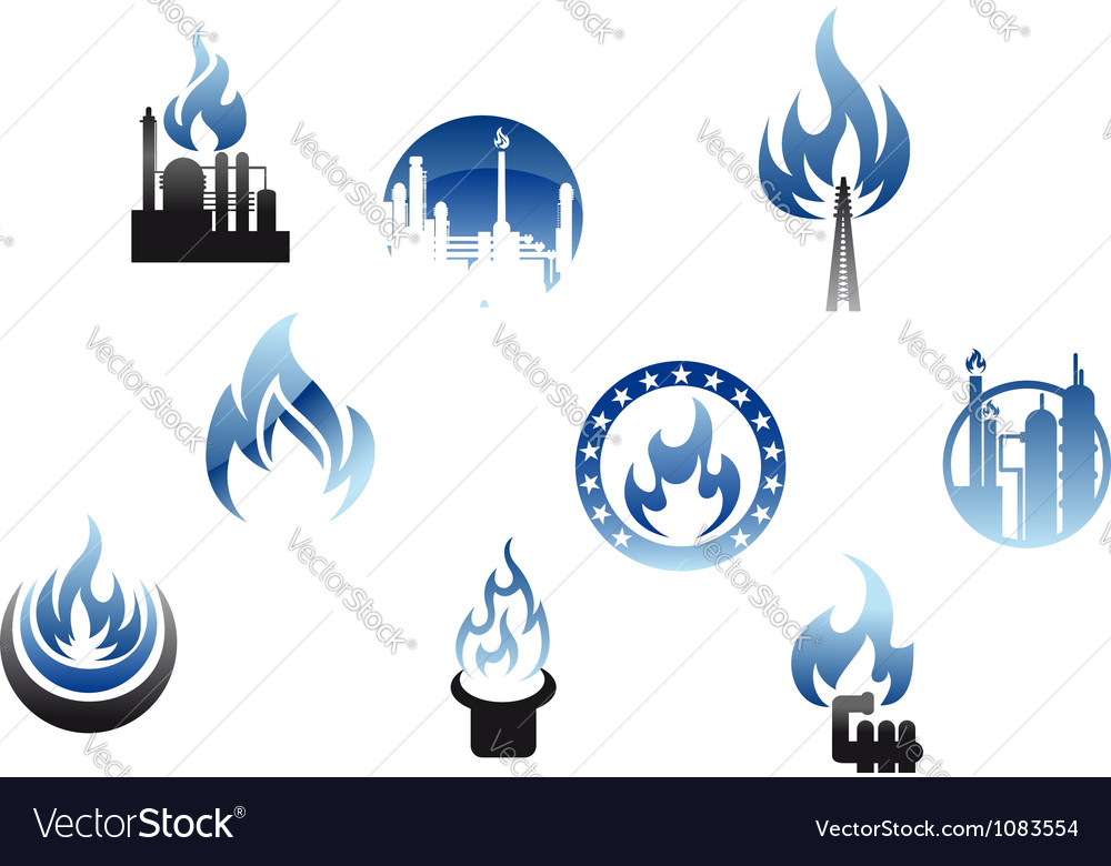 Gas industry symbols and icons vector