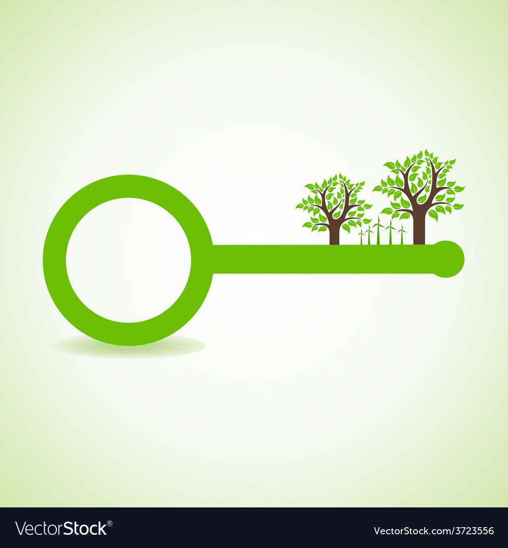 Tree and wind-mill on the key vector