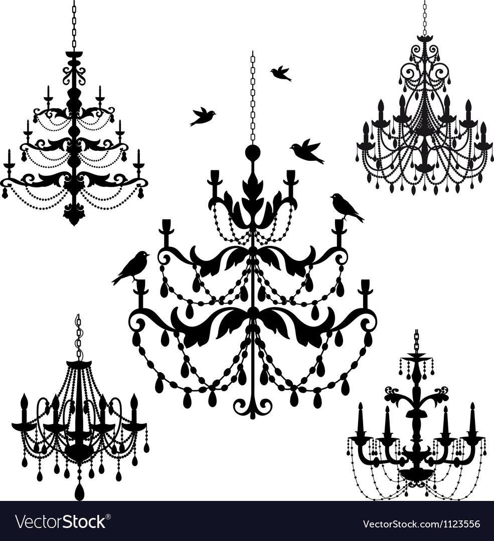 Vintage chandelier set vector