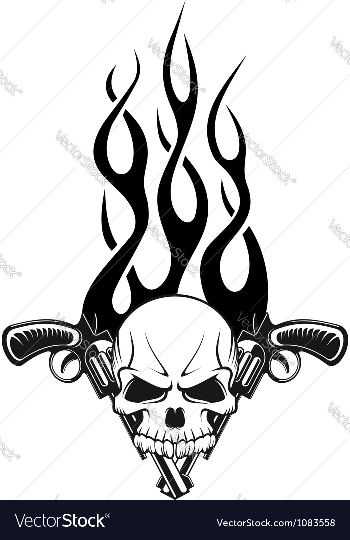 Human skull with gun vector