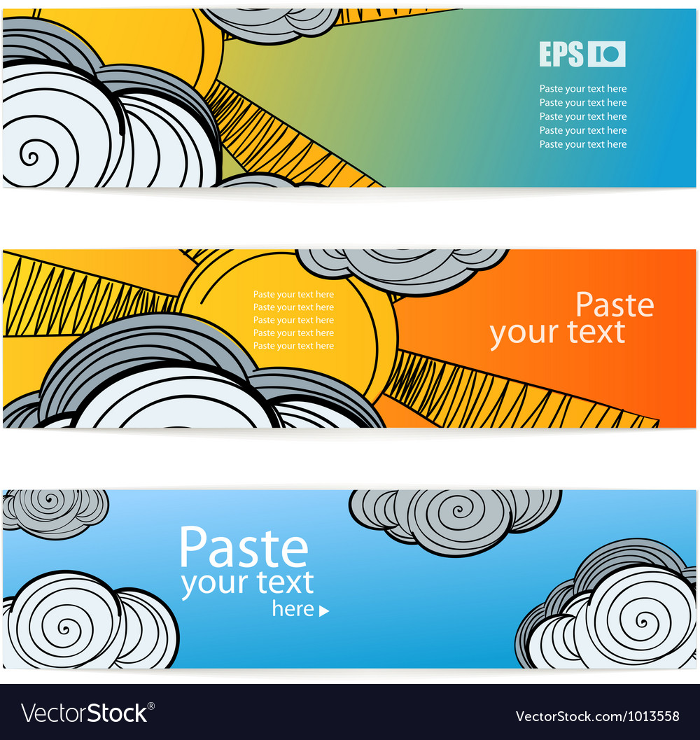 Set of weather information banners vector