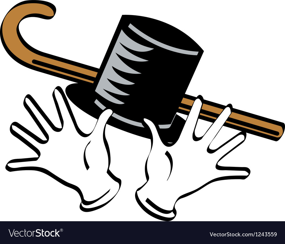 Top hat gloves cane vector