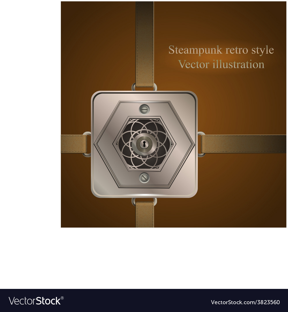 Background with metallic banner steampunk vector