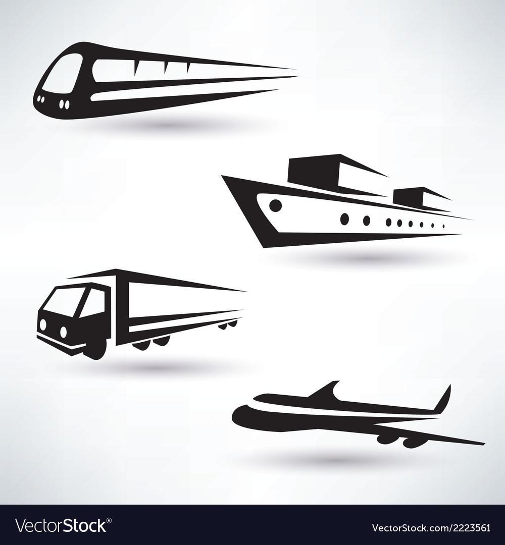 Cargo transportation icons set logistics concept vector