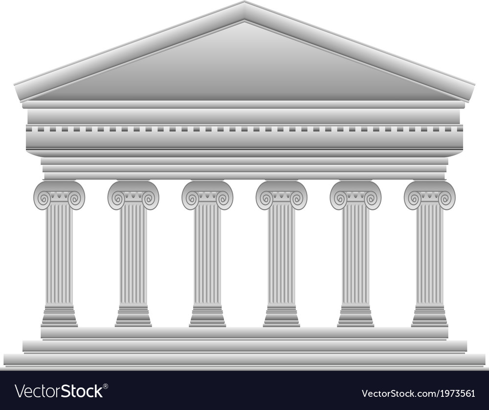 Ionic greek temple vector