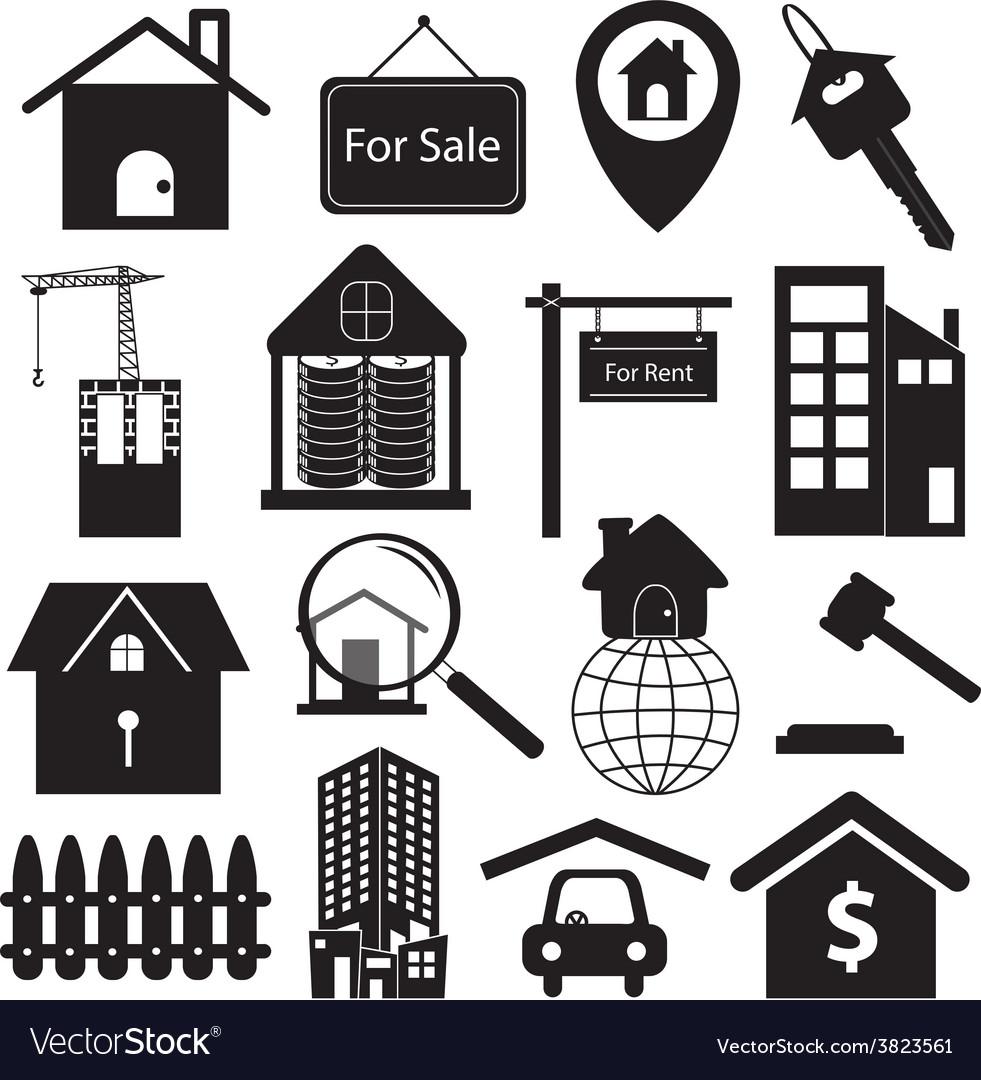 Real estate symbols set vector