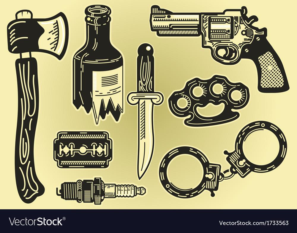 Crime elements vector