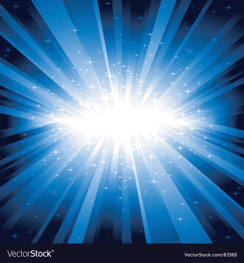Blue light burst with stars vector