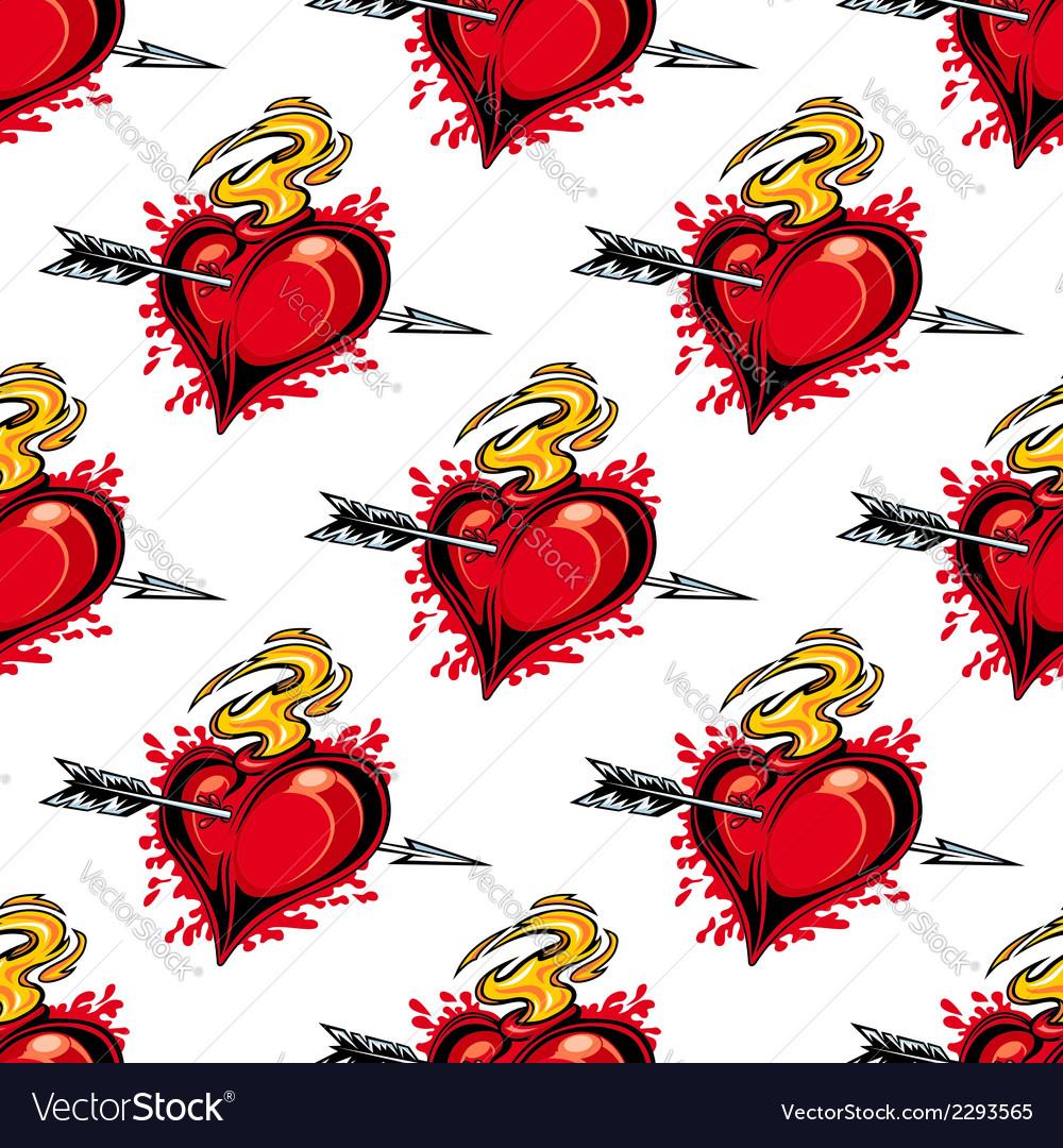 Burning fiery heart seamless pattern vector