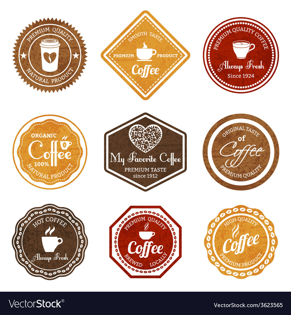 Coffee retro labels set vector