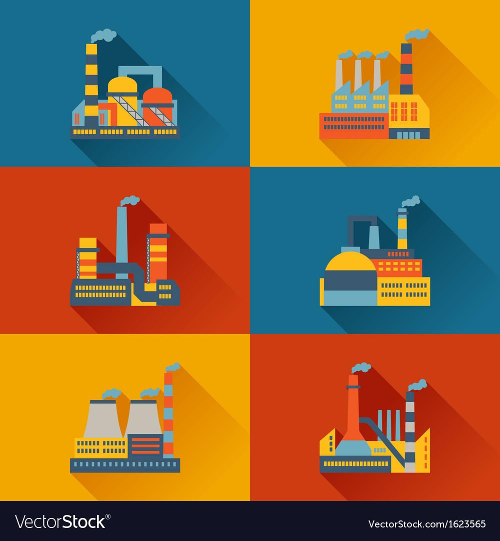 Industrial factory buildings in flat design style vector