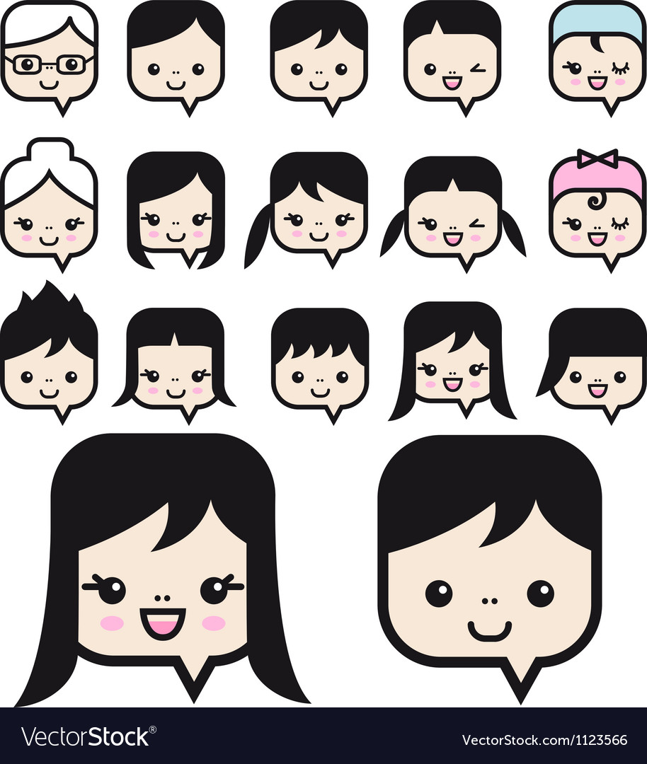 People faces icon set vector