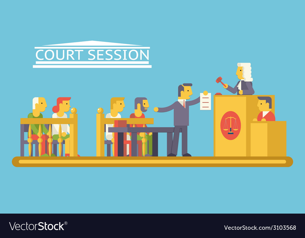 Law court justice scene with characters defendant vector