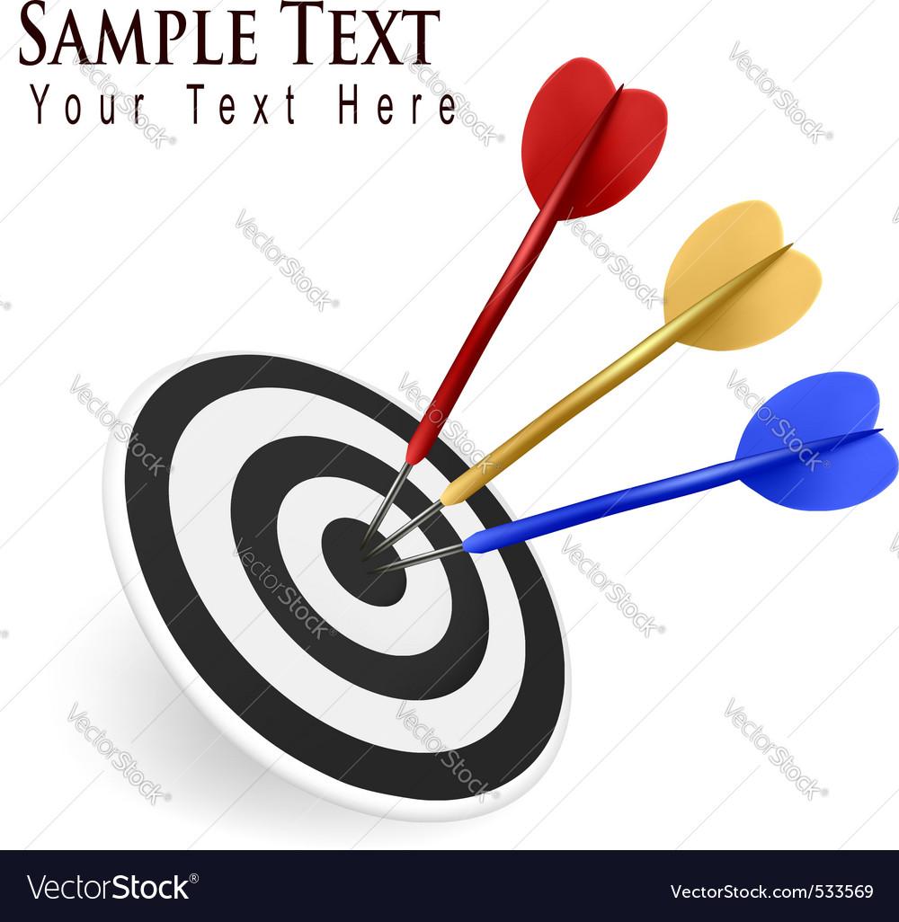 Color darts hitting a target vector