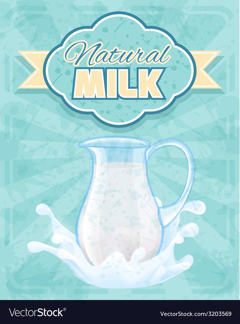Milk pitcher poster vector