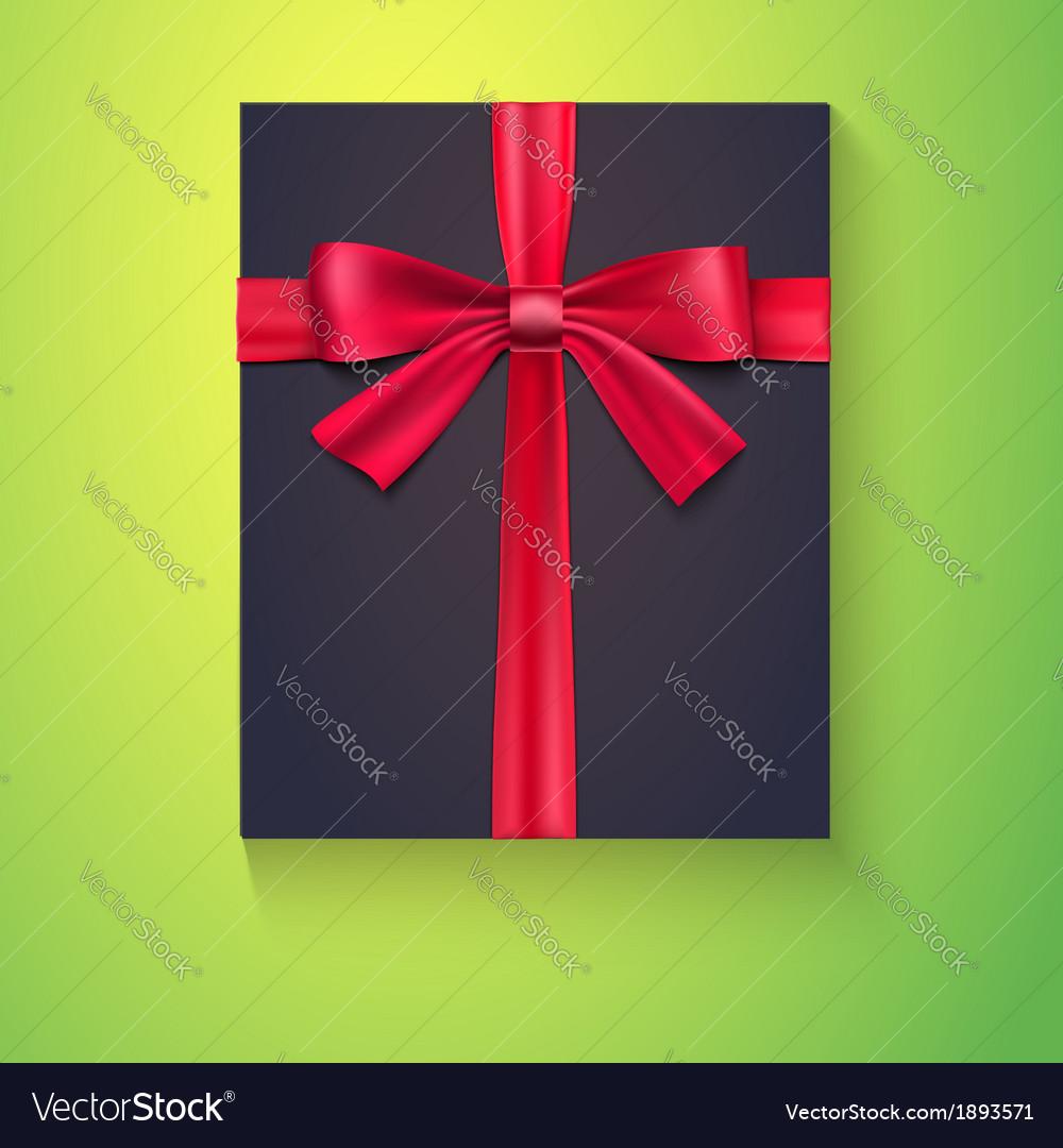 Black box red ribbon bow vector