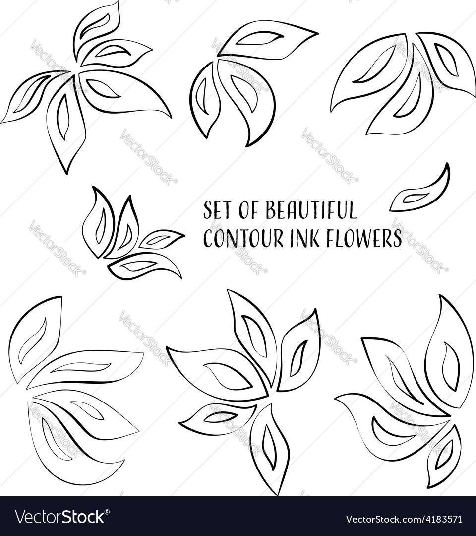Contour ink flowers vector