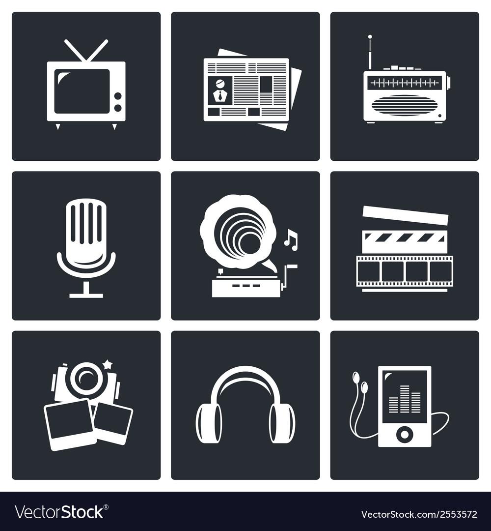 Media icon set - video news music tv recording vector