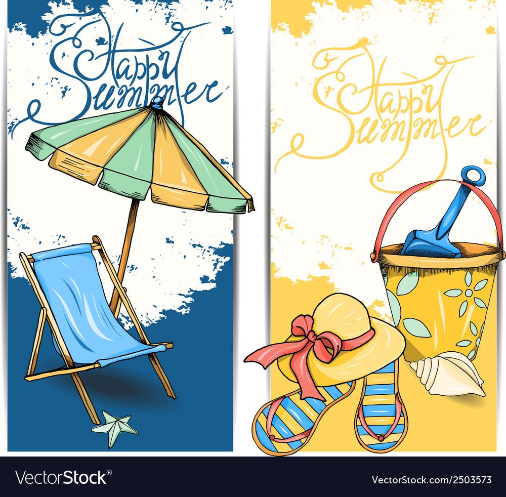 Beach card vector