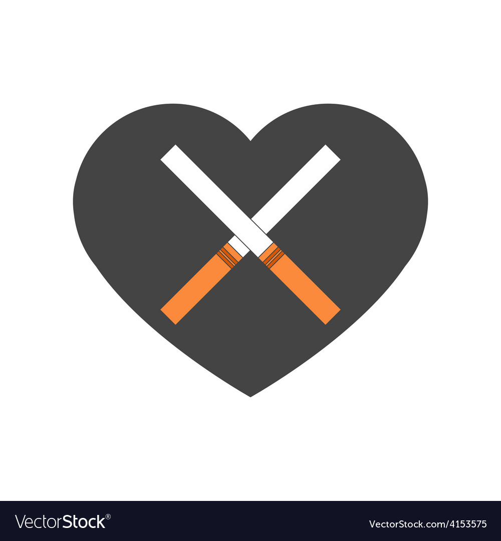 Heart with crossed cigarettes vector