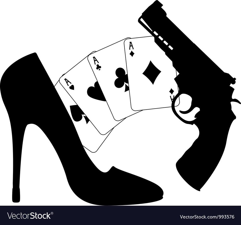 Cards pistol and womens shoe vector