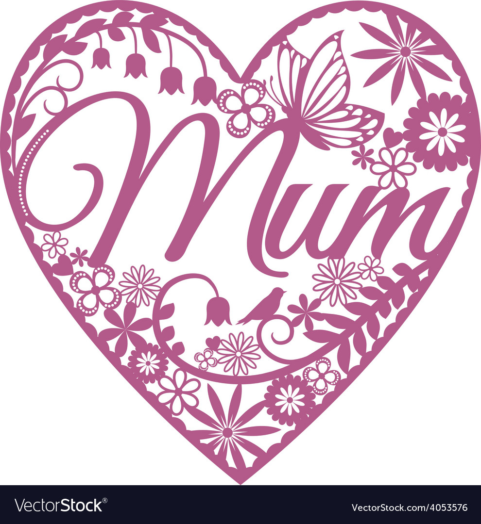Mum papercut heart pink on white vector