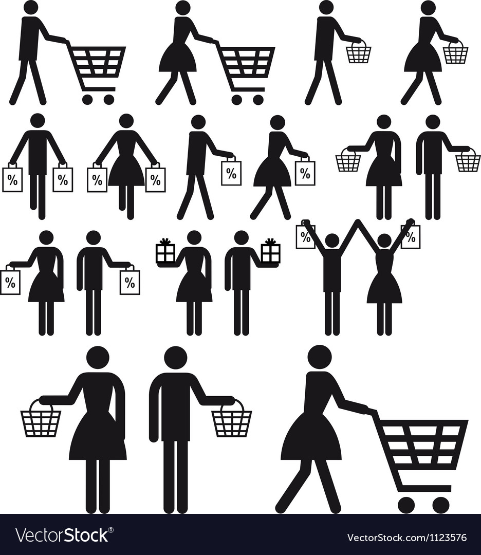 Shopping people icon set vector