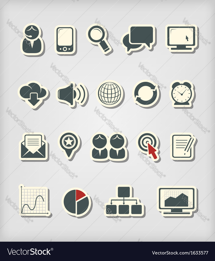 Business and media icons vector