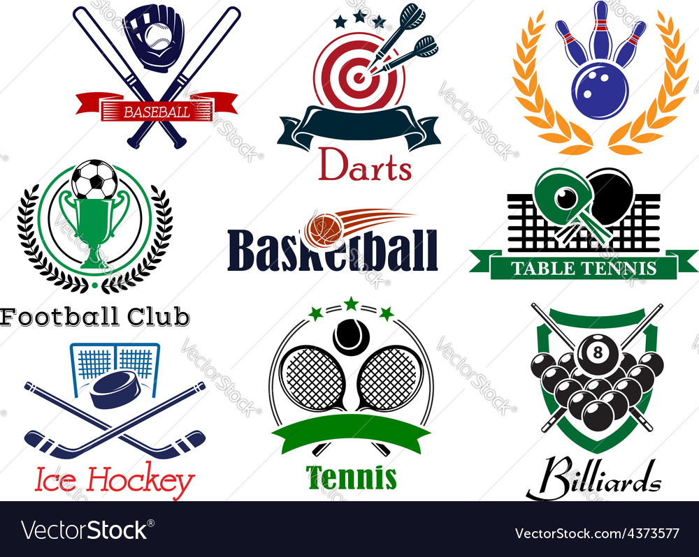Competition sports emblems and symbols vector