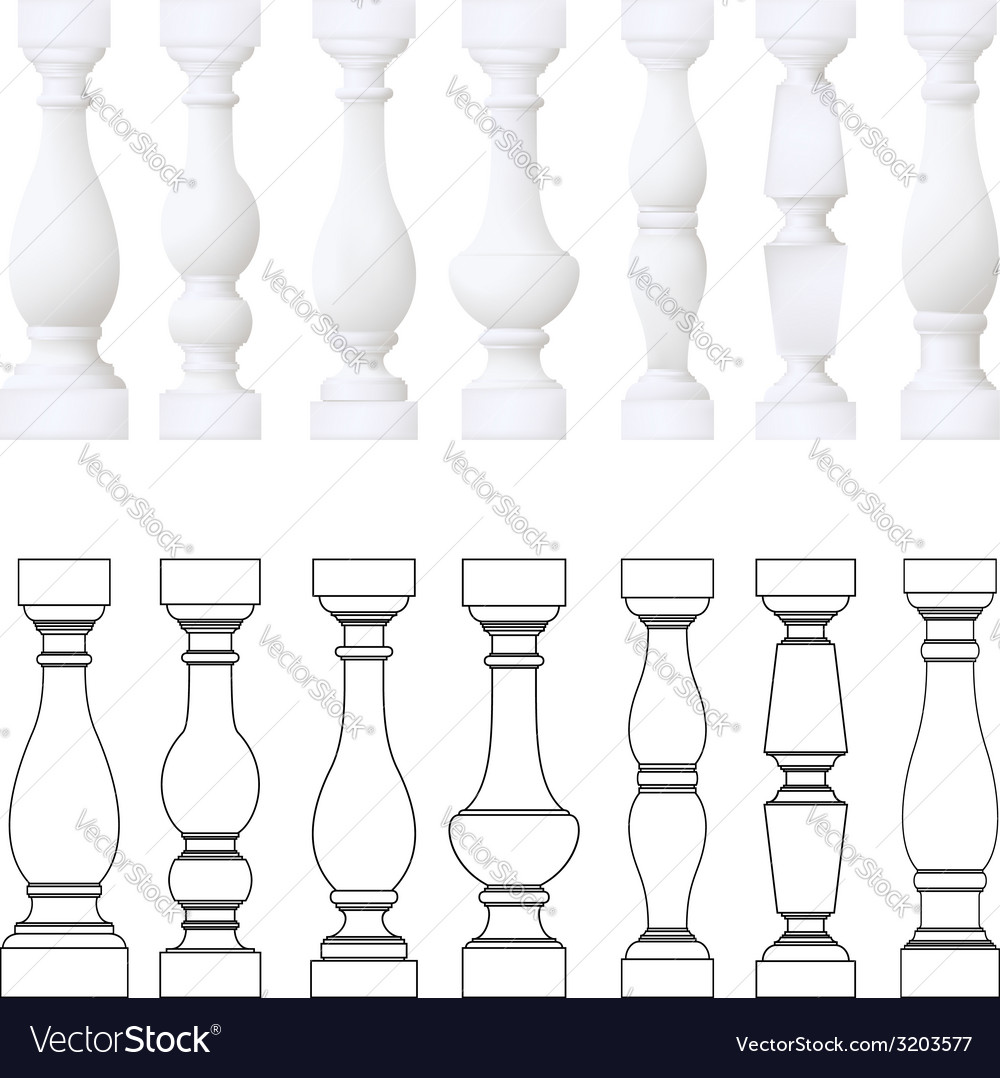 Isolated balustrade  set of drawing vector
