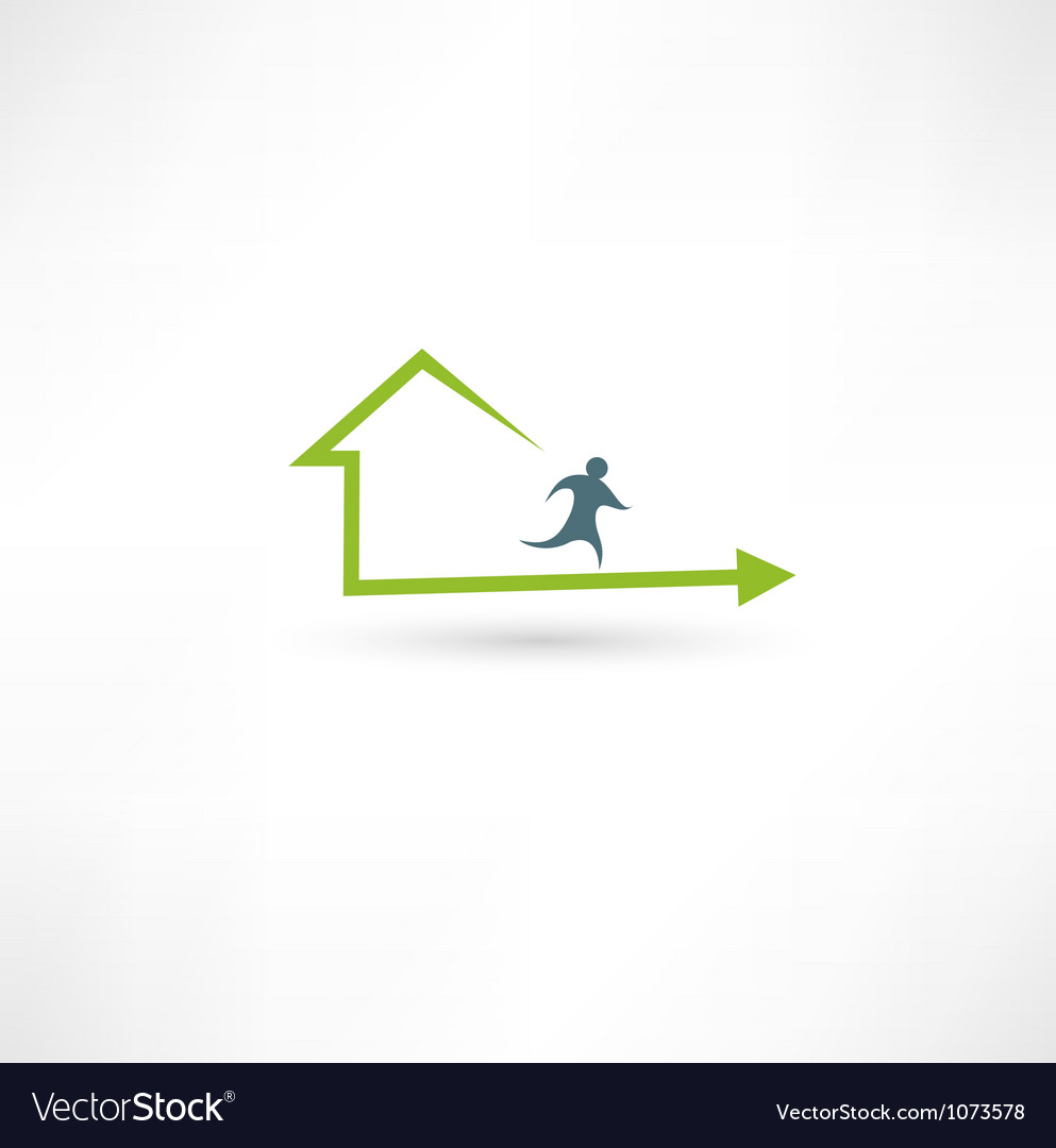 Home fitness icon vector
