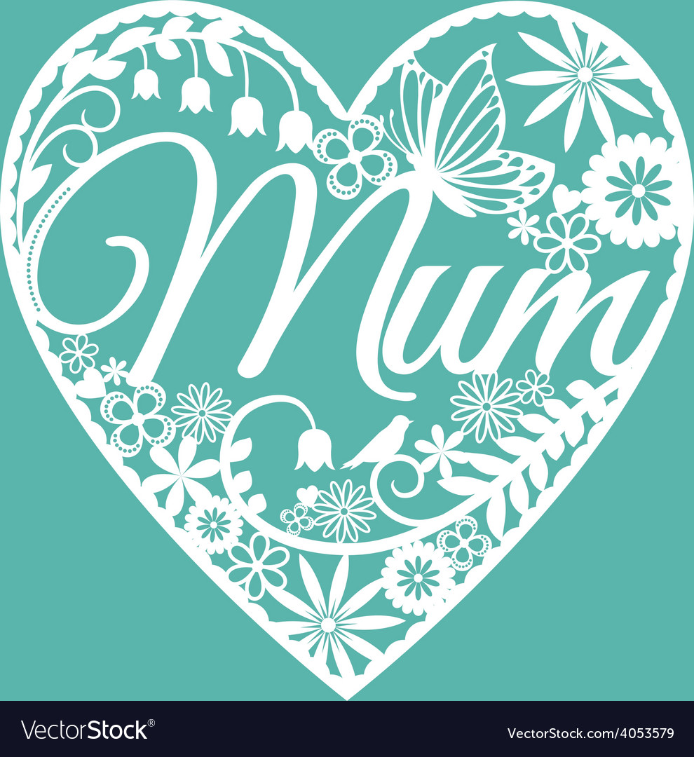 Mum papercut heart white on blue vector