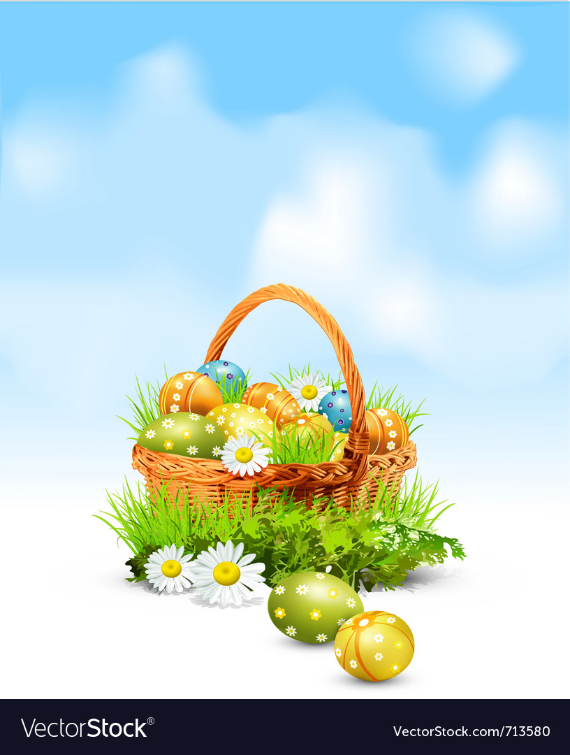 Easter eggs basket vector