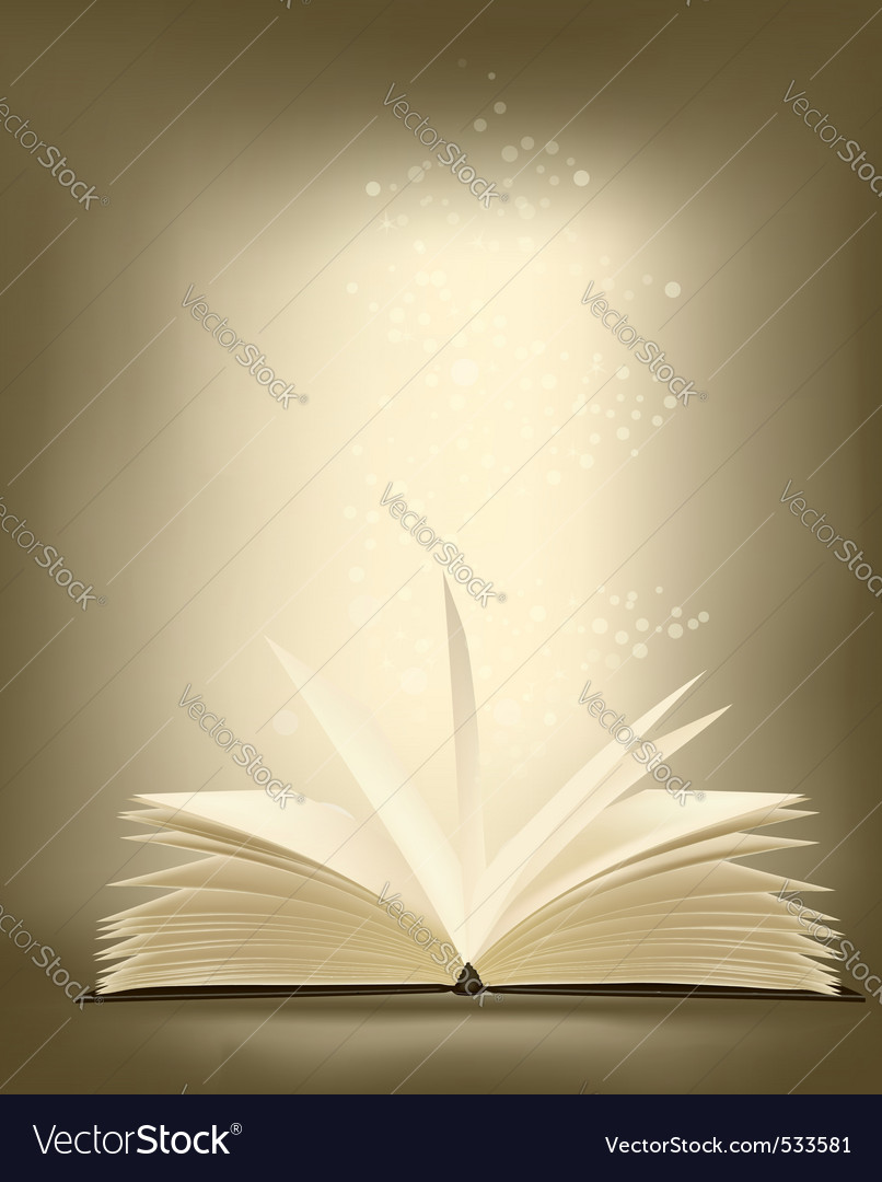 Opened magic book vector
