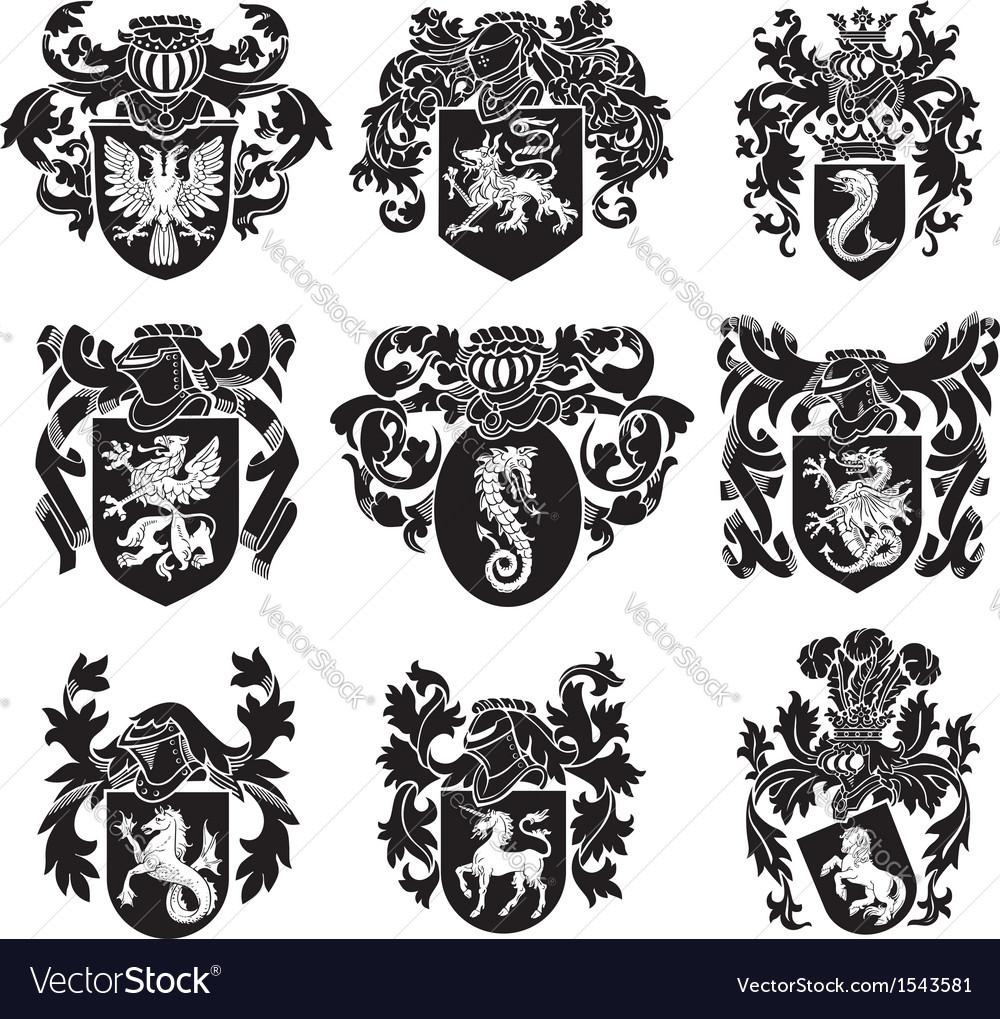 Set of heraldic silhouettes no1 vector
