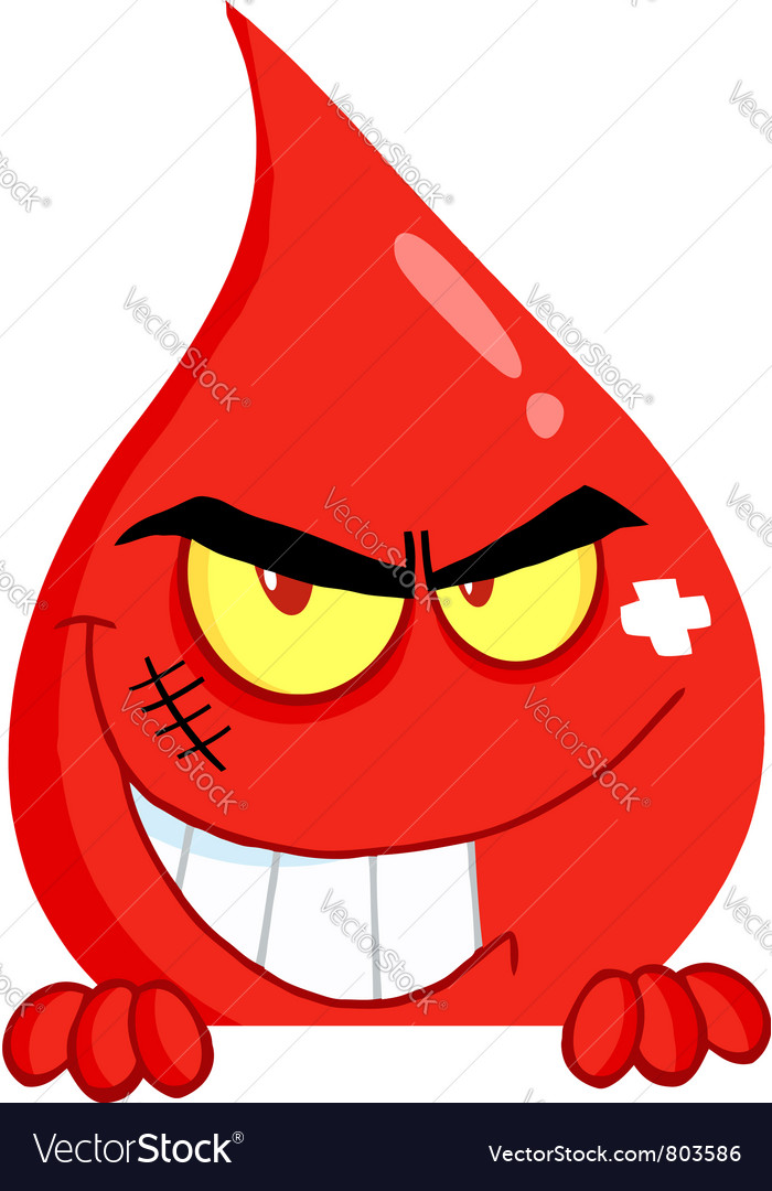 Evil blood guy grinning over a blank sign vector