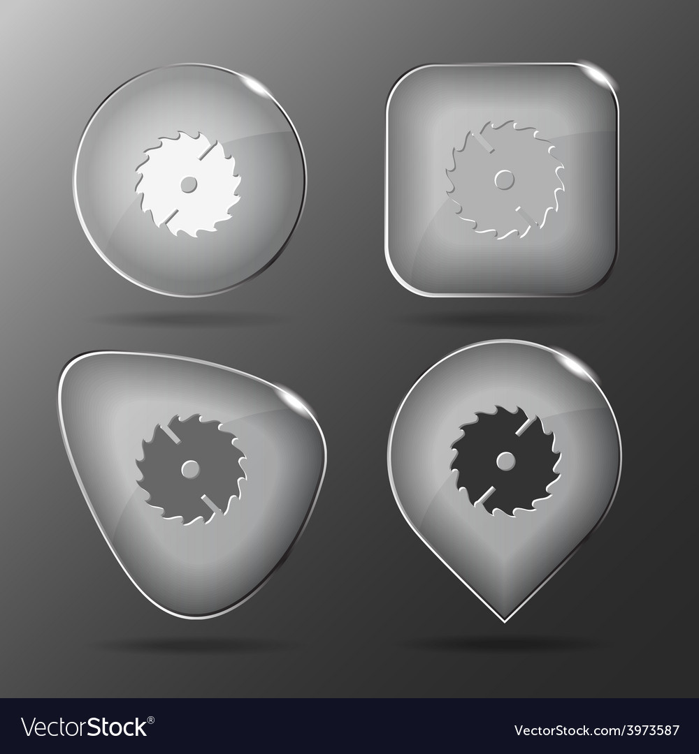 Circ saw glass buttons vector