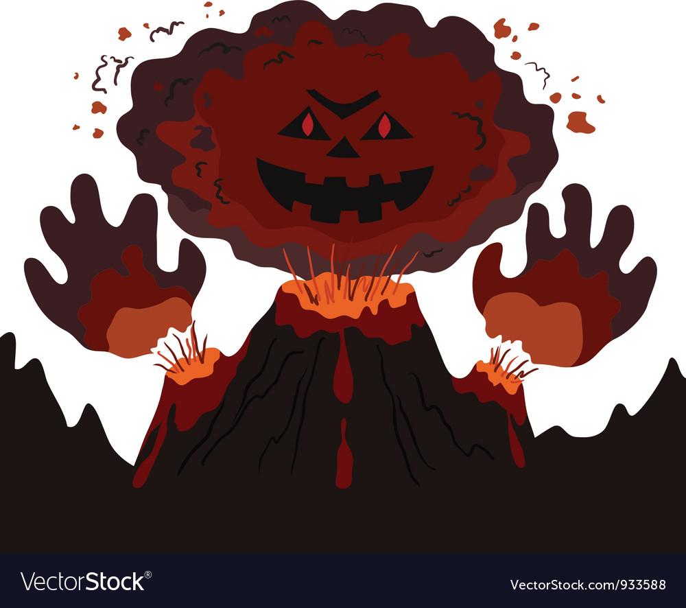 Evil erupting volcano vector