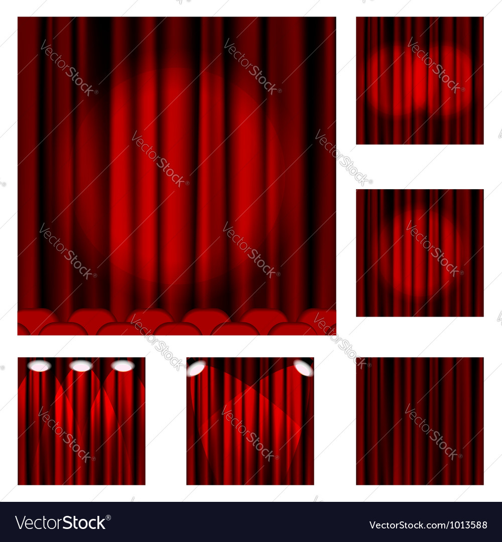 Set of red curtains to theater stage vector