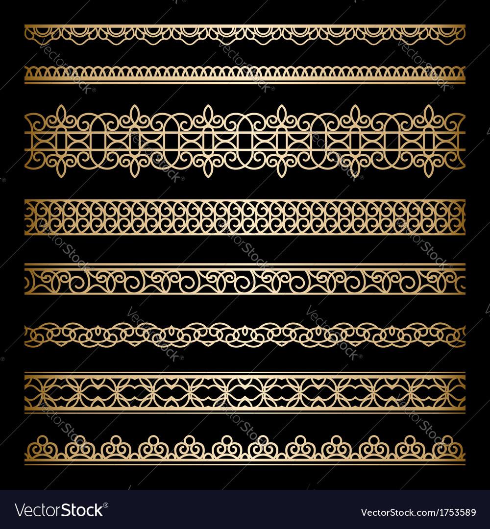 Gold borders set vector