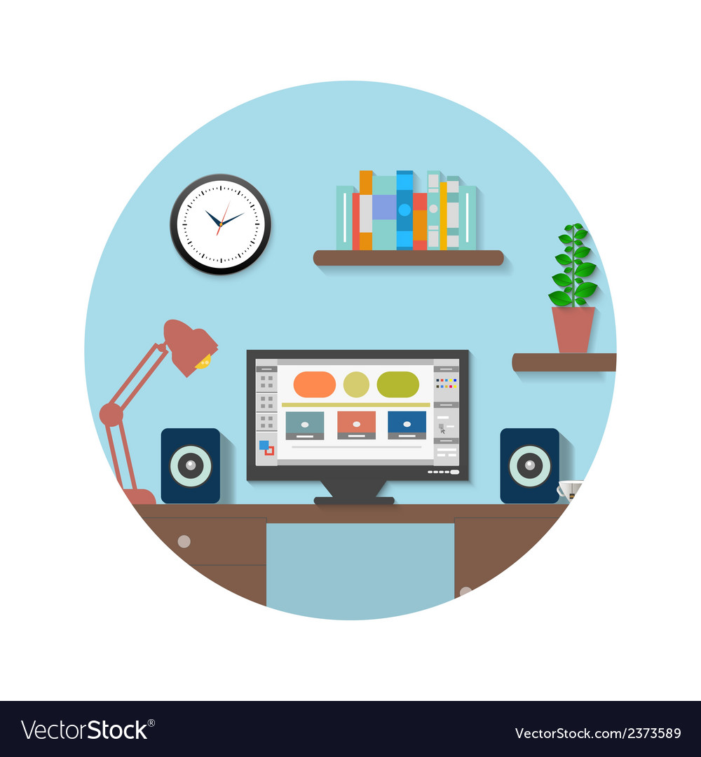 Modern office interior with designer desktop vector