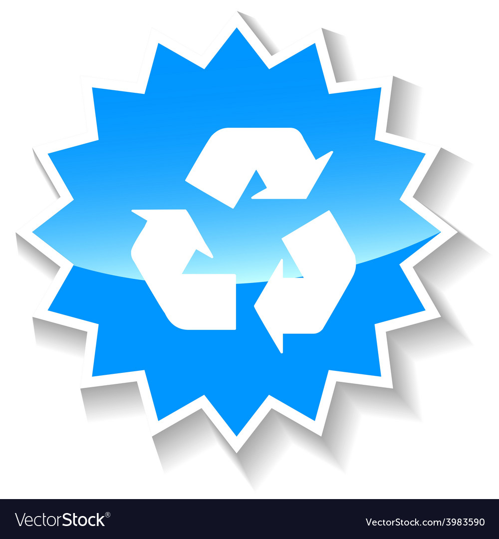 Recycling blue icon vector