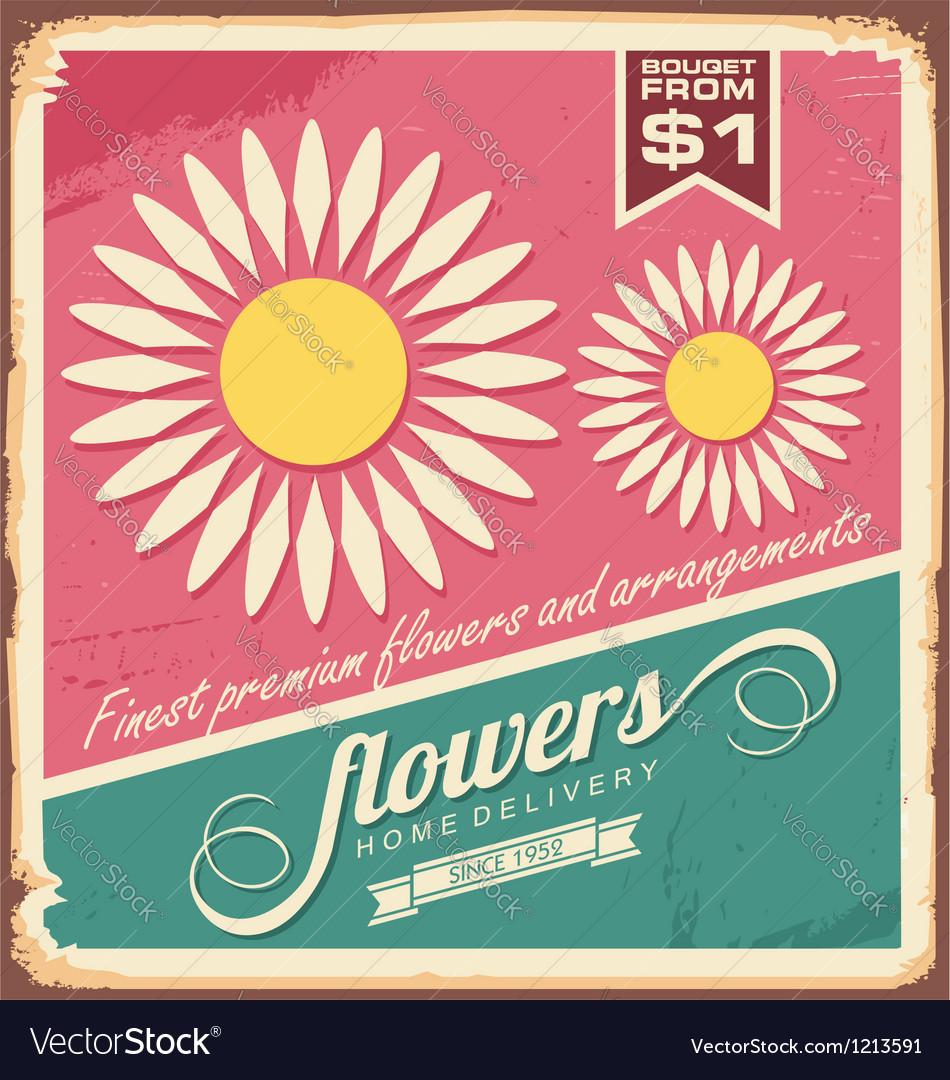Vintage florist shop sign vector