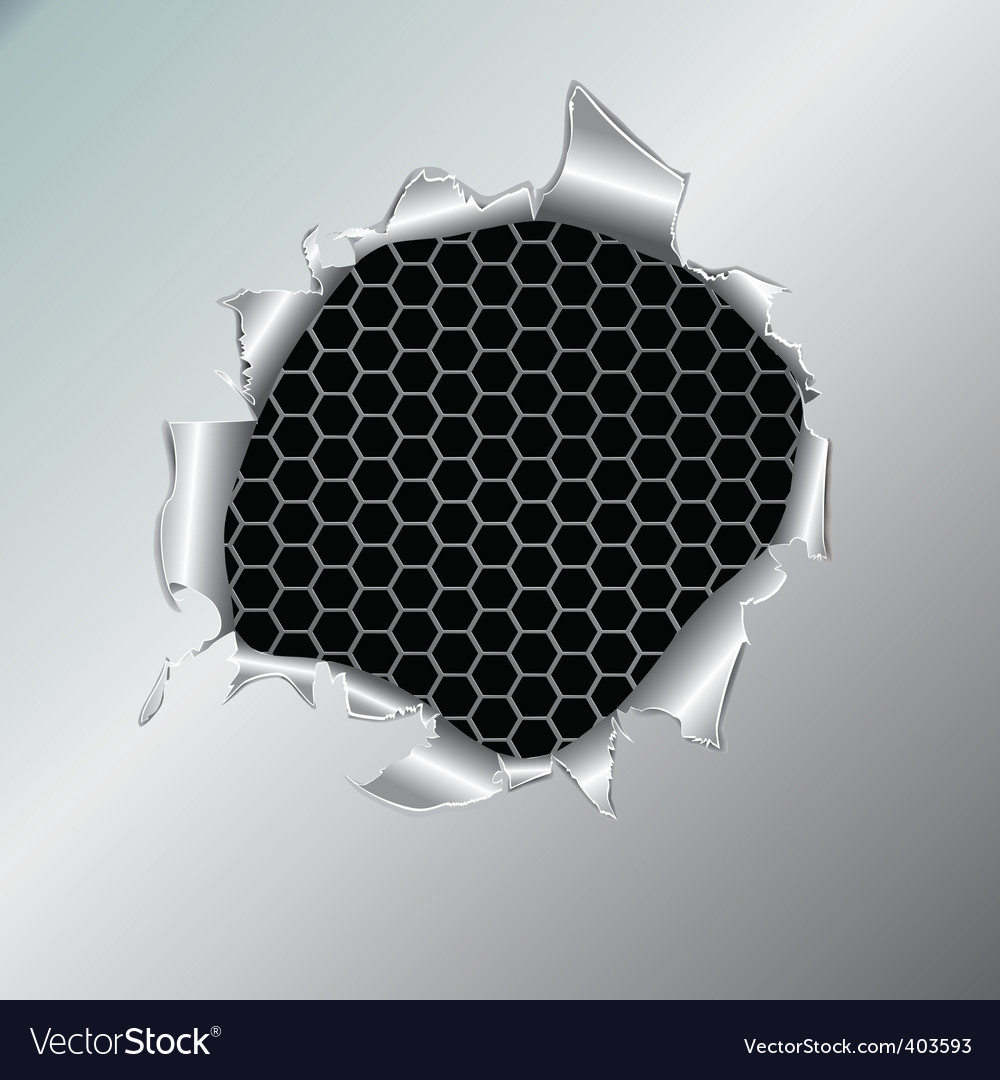 Hexagon metallic background under hole vector