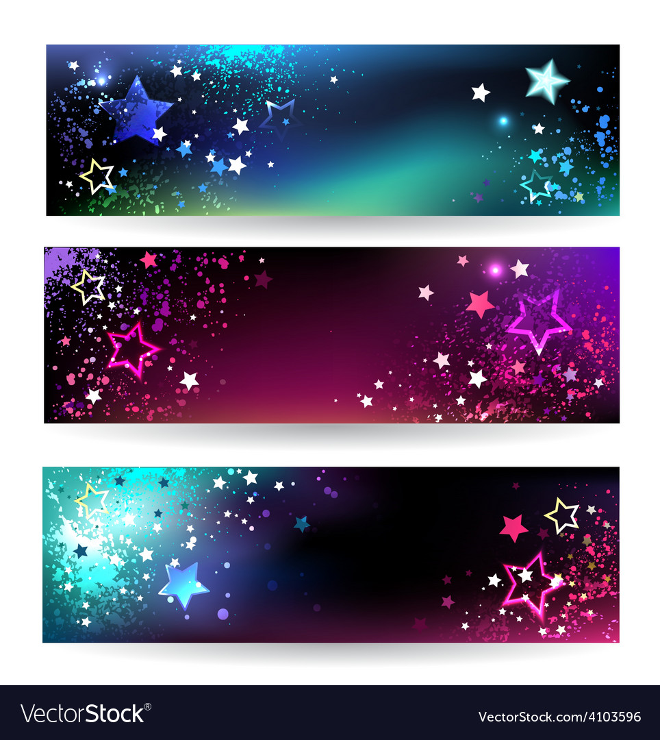 Banners with bright stars vector